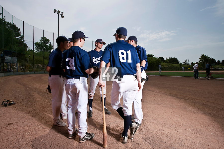 23 May 2009: Team Savigny is seen prior to a game against Senart during the 2009 challenge de France, a tournament with the best French baseball teams - all eight elite league clubs - to determine a spot in the European Cup next year, at Montpellier, France. Savigny wins 4-1 over Senart.