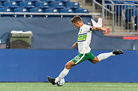 FOXBOROUGH, MA - AUGUST 26: Brandon Fricke #15 of Greenville Triumph SC passes the ball during a game between Greenville Triumph SC and New England Revolution II at Gillette Stadium on August 26, 2020 in Foxborough, Massachusetts.