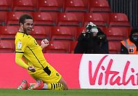 13th March 2021; Vitality Stadium, Bournemouth, Dorset, England; English Football League Championship Football, Bournemouth Athletic versus Barnsley; Carlton Morris of Barnsley celebrates scoring in 80th minute 2-3