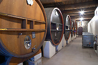Clos Bagatelle St Chinian. Languedoc. Barrel cellar. Wooden fermentation and storage tanks. France. Europe.