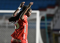 CALI - COLOMBIA, 30-08-2019: Linda Caicedo del América celebra después de anotar el primer gol de su equipo partido por los cuartos de final vuelta de la Liga Femenina Aguila 2019 entre América de Cali y Atlético Nacional jugado en el estadio Pascual Guerrero de la ciudad de Cali. / Linda Caicedo of America celebrates after scoring the first goal of his team during second leg match for the quaterfinals as part of Aguila Women League 2019 between America de Cali and Atletico Nacional played at Pascual Guerrero stadium in Cali. Photo: VizzorImage / Gabriel Aponte / Staff