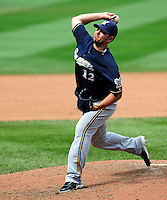 23 August 2009: Milwaukee Brewers' relief pitcher Carlos Villanueva on the mound against the Washington Nationals at Nationals Park in Washington, DC. The Nationals defeated the Brewers 8-3 to take the third game of their four-game series, snapping a five games losing streak. Mandatory Credit: Ed Wolfstein Photo