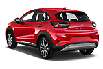 Car pictures of rear three quarter view of 2020 Ford Puma Titanium-X 5 Door SUV Angular Rear
