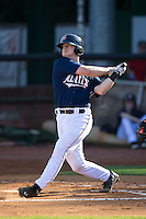 A.J. Murray (22) of the Elizabethton Twins follows through on his swing against the Johnson City Cardinals at Joe O'Brien Field on July 11, 2015 in Elizabethton, Tennessee.  The Twins defeated the Cardinals 5-1. (Brian Westerholt/Four Seam Images)