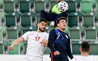 ST. GALLEN, SWITZERLAND - MAY 30: Giovanni Reyna #7 of the United States battles with Benito #17 of Switzerland during a game between Switzerland and USMNT at Kybunpark on May 30, 2021 in St. Gallen, Switzerland.