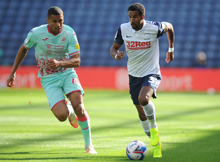Preston North End's Scott Sinclair under pressure from Swansea City's Ben Cabango<br /> <br /> Photographer Kevin Barnes/CameraSport<br /> <br /> The EFL Sky Bet Championship - Preston North End v Swansea City - Saturday September 12th 2020 - Deepdale - Preston<br /> <br /> World Copyright © 2020 CameraSport. All rights reserved. 43 Linden Ave. Countesthorpe. Leicester. England. LE8 5PG - Tel: +44 (0) 116 277 4147 - admin@camerasport.com - www.camerasport.com