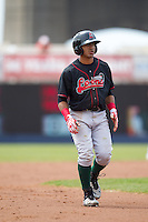Great Lakes Loons second baseman Jesmuel Valentin #22 looks on during a game against the Quad Cities River Bandits at Modern Woodmen Park on April 29, 2013 in Davenport, Iowa. (Brace Hemmelgarn/Four Seam Images)