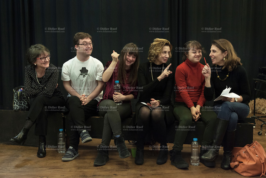 Switzerland. Canton Ticino. Locarno. Fauni Theater.  MOPS_DanceSyndrome is an independent Swiss artistic, cultural and social organisation operating in the field of contemporary dance and disability. It is composed only of Down dancers. Family meeting (left to right): Giovanna and Simone Lunardi. Gaia and Paola Frezza Mereu. Elisabetta and Giulia Montobbio. Down syndrome (DS or DNS), also known as trisomy 21, is a genetic disorder caused by the presence of all or part of a third copy of chromosome 21 It is usually associated with physical growth delays, mild to moderate intellectual disability, and characteristic facial features. 19.12.2019 © 2019 Didier Ruef