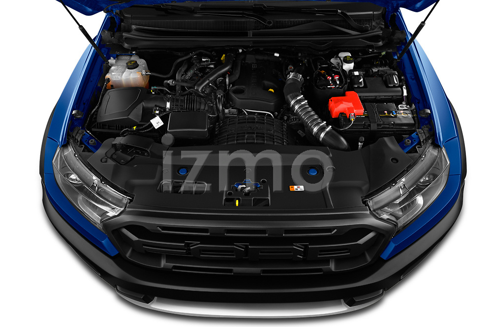Car Stock 2019 Ford Ranger-Raptor - 4 Door Pick-up Engine  high angle detail view