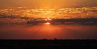 The sun sets over the Kalahari.