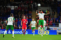 Paul Dummett of Wales vies for possession with Cyrus Christie of Republic of Ireland during the UEFA Nations League B match between Wales and Ireland at Cardiff City Stadium in Cardiff, Wales, UK.September 6, 2018