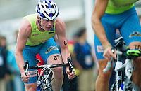 17 SEP 2011 - LA BAULE, FRA - Conor Murphy (Triathlon Olympique Club Cesson Sevigne) follows a team mate during the final round of the men's French Grand Prix Series at the Triathlon Audencia in La Baule, France (PHOTO (C) NIGEL FARROW)