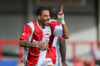 MC Harvey celebrates scoring during the Celebrity Charity Football Match hosted by Sellebrity Soccer for the Benjamin Lewis Charity Cub at the Abbey Business Stadium, Cheltenham, England on 25 March 2018. Photo by David Horn.
