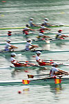 Rowing, lightweight women's doubles, FISA World Rowing Championships, Milan, Italy 2003, blur motion, at the start,