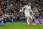 Real Madrid´s Gareth Bale and Deportivo de la Coruna's Manuel Pablo during 2014-15 La Liga match between Real Madrid and Deportivo de la Coruna at Santiago Bernabeu stadium in Madrid, Spain. February 14, 2015. (ALTERPHOTOS/Luis Fernandez)