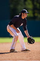 Joe Rizzo (22) of Oak Hill Academy in Mouth of Wilson, Virginia playing for the New York Yankees scout team at the South Atlantic Border Battle at Doak Field on November 2, 2014.  (Brian Westerholt/Four Seam Images)