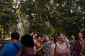 Orlando, Florida<br /> Universal Studios<br /> August 13, 2013<br />  <br /> Universal Studios - Hogwarts Harry Potter castle.<br /> <br /> Tourists wait in line to enter Hogwarts.