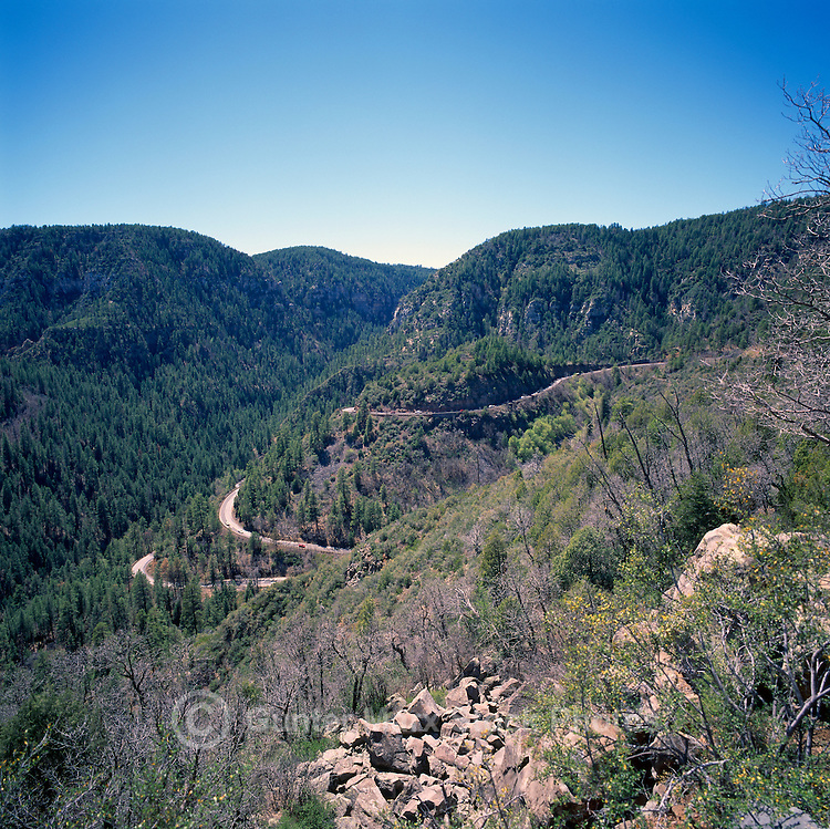 Highway 89A winds through Oak Creek Canyon and Coconino National Forest near Sedona, Arizona, USA
