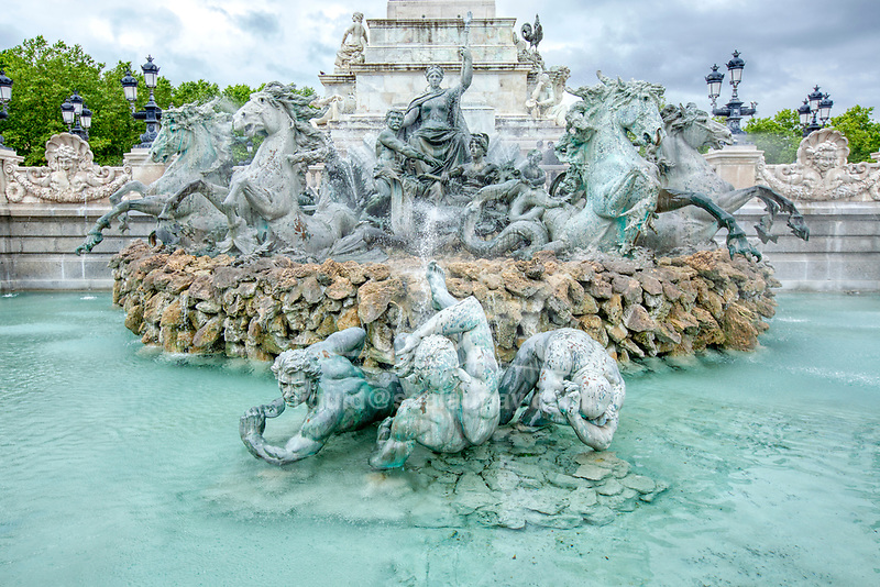 Monument to Girondins Place des Quinconces in Bordeaux.<br /> Bordeaux is a port city on the Garonne in the Gironde department in Southwestern France.<br /> It is the capital of the Nouvelle-Aquitaine region, as well as the prefecture of the Gironde department.