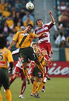 Jovan Kirovski, left, Carey Talley, right, L.A. Galaxy vs FC Dallas, L.A. won 2-0.