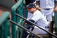 Detroit Tigers catcher Cooper Johnson (28) in the dugout during a Florida Instructional League game against the Pittsburgh Pirates on October 16, 2020 at Joker Marchant Stadium in Lakeland, Florida.  (Mike Janes/Four Seam Images)