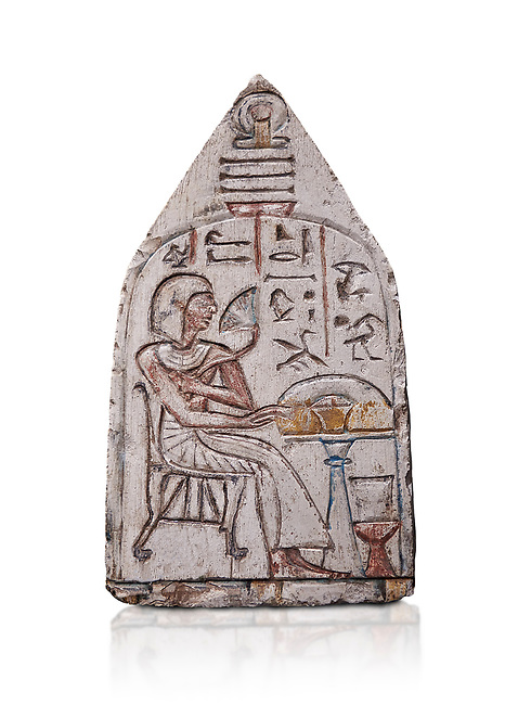 """Ancient Egyptian Ra stele , limestone, New Kingdom, 19th Dynasty, (1279-1190 BC), Deir el-Medina,  Egyptian Museum, Turin. white background, <br /> <br /> Akh iqer en Ra """" the excellent spirit of Ra' stele. The individual is smelling a lotus flower. One of three stele forund in different rooms of houses in Deir el-Medina where they stood in niches."""