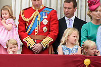 Prince George, Savannah and Ilsa Phillips<br /> on the balcony of Buckingham Palace during Trooping the Colour on The Mall, London. <br /> <br /> <br /> ©Ash Knotek  D3283  17/06/2017