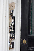Doorbells on a house in multiple occupation in Camden Town, London