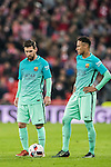 Lionel Andres Messi and teammate Neymar da Silva Santos Junior of FC Barcelona reacts during their Copa del Rey Round of 16 first leg match between Athletic Club and FC Barcelona at San Mames Stadium on 05 January 2017 in Bilbao, Spain. Photo by Victor Fraile / Power Sport Images