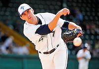 25 July 2010: Vermont Lake Monsters pitcher Neil Holland warms up in the bullpen during a game against the Tri-City ValleyCats at Centennial Field in Burlington, Vermont. The ValleyCats came from behind to defeat the Lake Monsters 10-8 in NY Penn League action. Mandatory Credit: Ed Wolfstein Photo