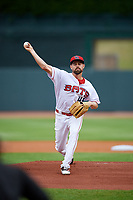 Louisville Bats starting pitcher Rob Wooten (45) during a game against the Columbus Clippers on May 1, 2017 at Louisville Slugger Field in Louisville, Kentucky.  Columbus defeated Louisville 6-1  (Mike Janes/Four Seam Images)