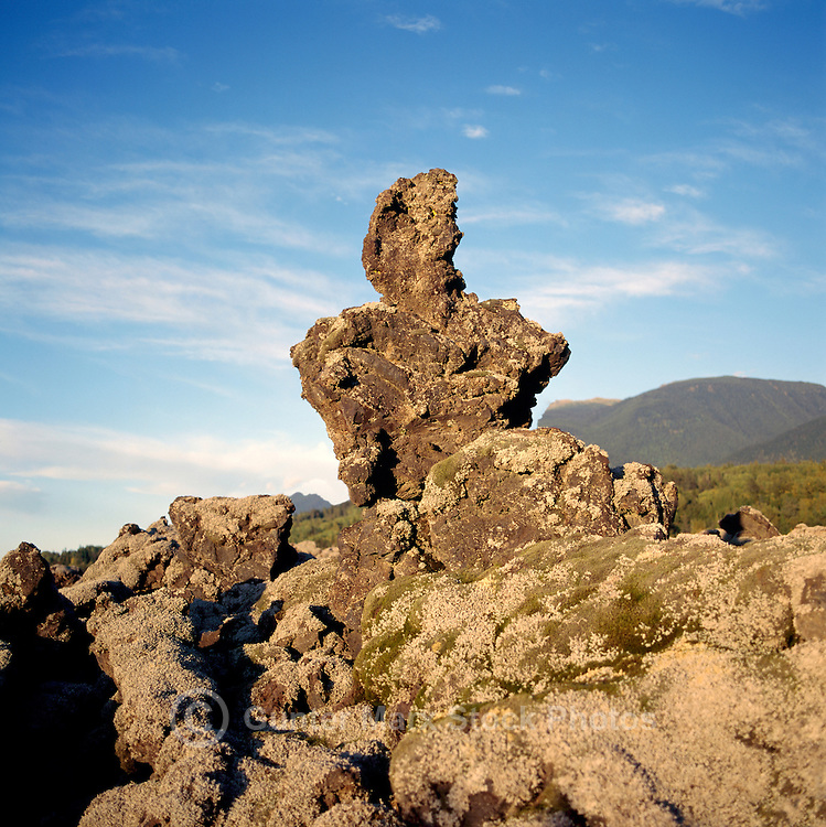 Unusual Lava Rock Formation in Nisga'a Memorial Lava Bed Park, near New Aiyansh, Northern BC, British Columbia, Canada, Summer
