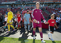 August 18, 2012: Sporting KC goalkeeper Jimmy Nielsen #1 leads the team out during the opening ceremonies in an MLS game between Toronto FC and Sporting Kansas City at BMO Field in Toronto, Ontario Canada..Sporting Kansas City won 1-0.