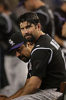 Colorado Rockies first baseman Todd Helton #17 during a game  against the Los Angeles Dodgers at Dodger Stadium on July 26, 2011 in Los Angeles,California. Los Angeles defeated Colorado 3-2.(Larry Goren/Four Seam Images)