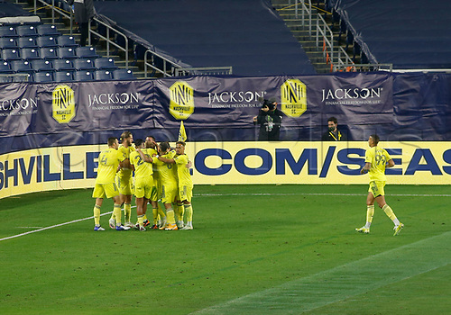 20th November 2020, Nashville, TN, USA;  Nashville SC celebrates after scoring their third goal during an MLS Cup Playoffs Eastern Conference Play-In game between Nashville SC and Inter Miami, November 20, 2020 at Nissan Stadium