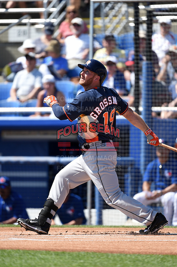 Houston Astros outfielder Robbie Grossman (19) during a Spring Training game against the Toronto Blue Jays on March 9, 2015 at Florida Auto Exchange Stadium in Dunedin, Florida.  Houston defeated Toronto 1-0.  (Mike Janes/Four Seam Images)