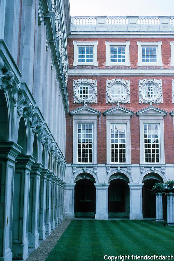 Sir Christopher Wren: Hampton Court Palace--Fountain Court. 1689-94. Photo '87.
