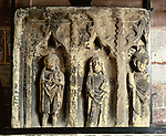 The Shrine, Shrewsbury Abbey, Shrewsbury, Shropshire. UK. This medieval carving displayed in the Abbey Church of St Peter and St Paul probably shows, from left to right, John the Baptist, St Winefride, and Saint Beuno. Celtic Britain published by Orion