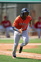 GCL Astros Dexter Jordan (12) runs to first base during a Gulf Coast League game against the GCL Cardinals on August 11, 2019 at Roger Dean Stadium Complex in Jupiter, Florida.  GCL Cardinals defeated the GCL Astros 2-1.  (Mike Janes/Four Seam Images)