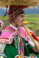 Peru, Moray, Urubamba Valley.  Young Quechua Dancer.