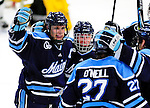 30 January 2010: University of Maine Black Bears celebrate a third period goal against the University of Vermont Catamounts at Gutterson Fieldhouse in Burlington, Vermont. The Black Bears and the Catamounts played to a 4-4 tie in the second game of their America East weekend series. Mandatory Credit: Ed Wolfstein Photo