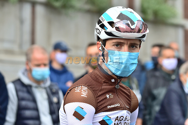 Benoit Cosnefroy (FRA) AG2R La Mondiale at sign on before La Fleche Wallonne 2020, running 202km from Herve to Mur de Huy, Belgium. 30th September 2020.<br /> Picture: ASO/Gautier Demouveaux | Cyclefile<br /> All photos usage must carry mandatory copyright credit (© Cyclefile | ASO/Gautier Demouveaux)