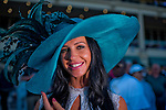HALLANDALE BEACH, FL - JAN 28: While waiting for the next race a fan shows off her stylish blue hat during the Pegasus World Cup Invitational Day at Gulfstream Park Race Course on January 28, 2017 in Hallandale Beach, Florida. (Photo by Scott Serio/Eclipse Sportswire/Getty Images)