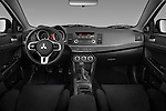 Straight dashboard view of a 2008 Mitsubishi Lancer Evolution.