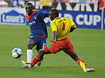 08 July 09: Haiti's Fabrice Noel fights past Grenada's Cassim Langiangne during their match at the CONCACAF Gold Cup at RFK Stadium in Washington, DC.