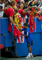 16 July 2010 Manchester United Nani No. 17 signs autographs during the warm-up in an international friendly  between Manchester United and Celtic FC at the Rogers Centre in Toronto.