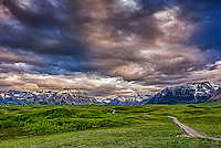 Fine Art Print Mountain Scenic of the rolling foothills leading to the towering mountains in southern Alberta, Canada. This is the entrance to Waterton Lakes National Park, A world heritage site.