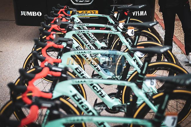 Race winner Primoz Roglic (SLO) and Team Jumbo-Visma Bianchi Oltre XR4 bikes with red bar tape at the team bus before Stage 18 of the Vuelta Espana 2020, running 139.6km from Hipódromo de La Zarzuela to Madrid, Spain. 8th November 2020.  <br /> Picture: Unipublic/Charly Lopez | Cyclefile<br /> <br /> All photos usage must carry mandatory copyright credit (© Cyclefile | Unipublic/Charly Lopez)