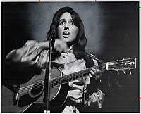 Joan Baez at Massey Hall. Good material plus that rare, strong voice<br /> <br /> <br /> Innell, Reg<br /> Picture, 1968- Toronto Star Archives - AQP