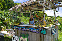 Who could resist a delicious smoothie served by a pretty local lady along the Road to Hana, Maui.